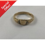 10ct Gold Ladies Love Heart Ring with Two Old Cut Diamonds - Lot 567C