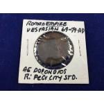 Roman Empire Vespasian 69-79 CE AE Dupondius Felicitas Coin - Lot 412C