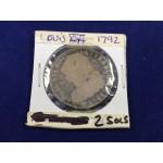 1792 France Louis XVI 2 Sol's Coin - 417C
