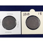 1818 & 1827 USA Coronet One Cent Coins - Lot 438C