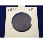 1803 US Drapped Bust One Cent Coin (Marked) - Lot 435C