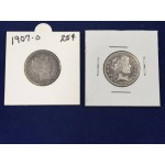 US Silver Barber Quarter Dollar Coins - 1899-O, 1907-O - Lot 797C