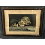 Antique Framed Lithograph of a Boy Finishing His Supper - Lot 830E