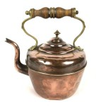 Antique Copper Kettle with Brass & Wood Handle - Lot 331E