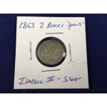 1853 - 2 Reales Isabel II Spain Silver Coin - Lot 131F
