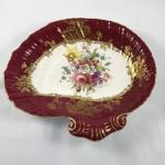 Antique Hammersley Maroon & Gilt - F. Howard - Scalloped Dish - Handpainted