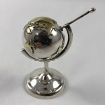 Vintage Sterling Silver Miniature Spinning Globe On Stand - Lot 1012E