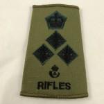 Military Cloth Badge Brigadier Olive Rank Slide - Rifles - Lot 675C