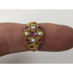Stunning 1919 Antique 15ct Gold Ring With Rubies & Seed Pearls - Lot 349C