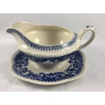 Antique Woods Burslem Seaforth Blue & White Gravy Boat with Stand - Lot 49W