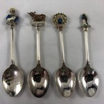 Group of Vintage Bird & Lady Diana with Baby Silverware Teaspoons - Lot 811C