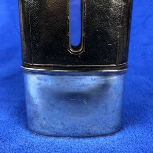 c4e222d5600 1856 Antique Sterling Silver Hip Flask With Leather - Lot 232W