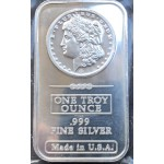 .999 Pure Silver 1oz USA Morgan Silver Bar - V2 -  Lot 656C